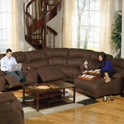 3pc Recliner Sofa Set Rp Bed Slipcover Espresso Fabric Compass Modular Sectional W/options