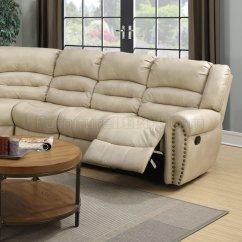 Modern Bonded Leather Sectional Sofa With Recliners Scotch And Cape Town G687 Motion In Beige By Glory