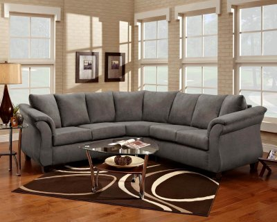 Grey Fabric Elegant Modern Sectional Sofa
