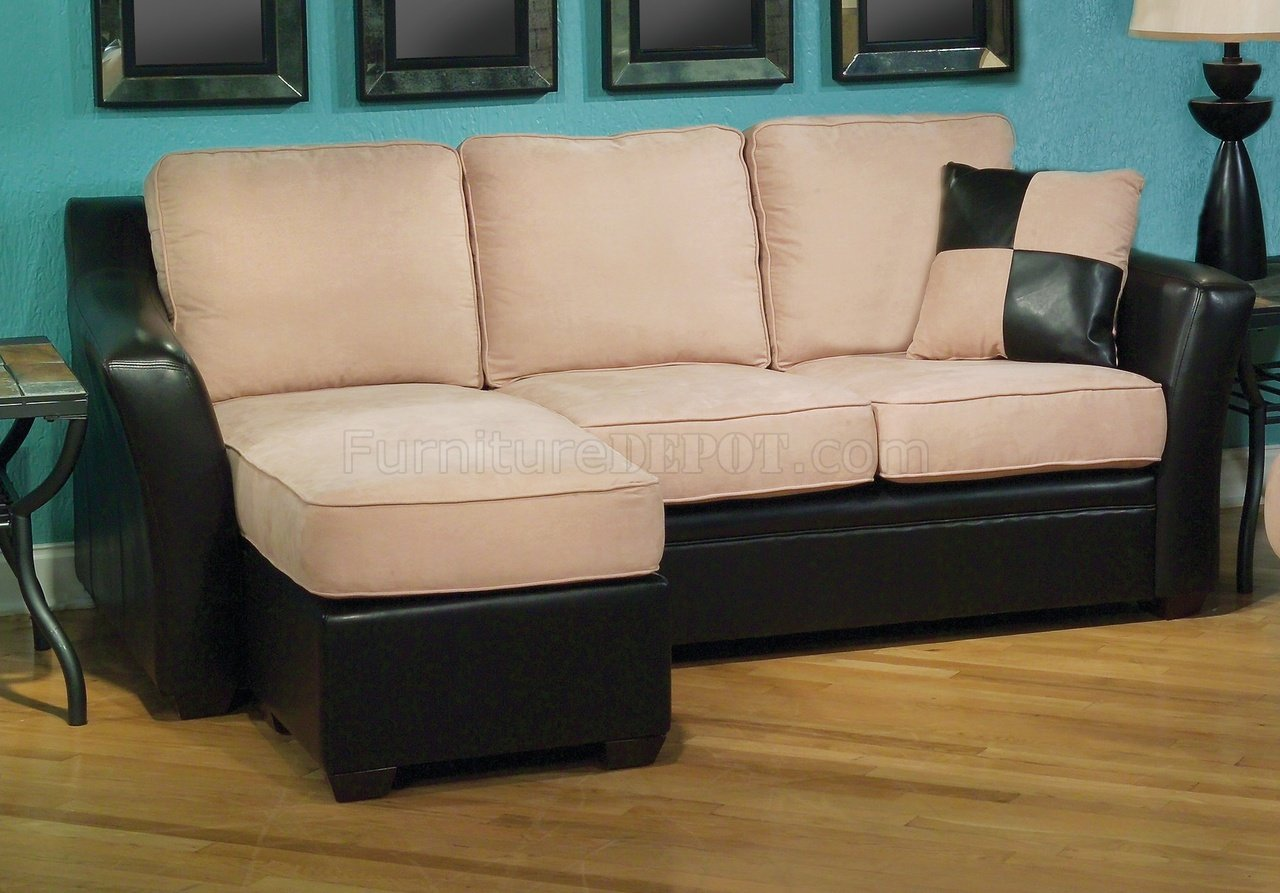cream colored microfiber sofa modern low back sofas two tone and pu reversible w