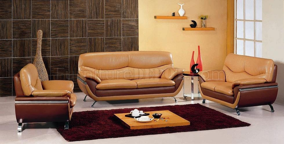Camel Amp Brown Two Tone Leather Modern 3PC Living Room Set