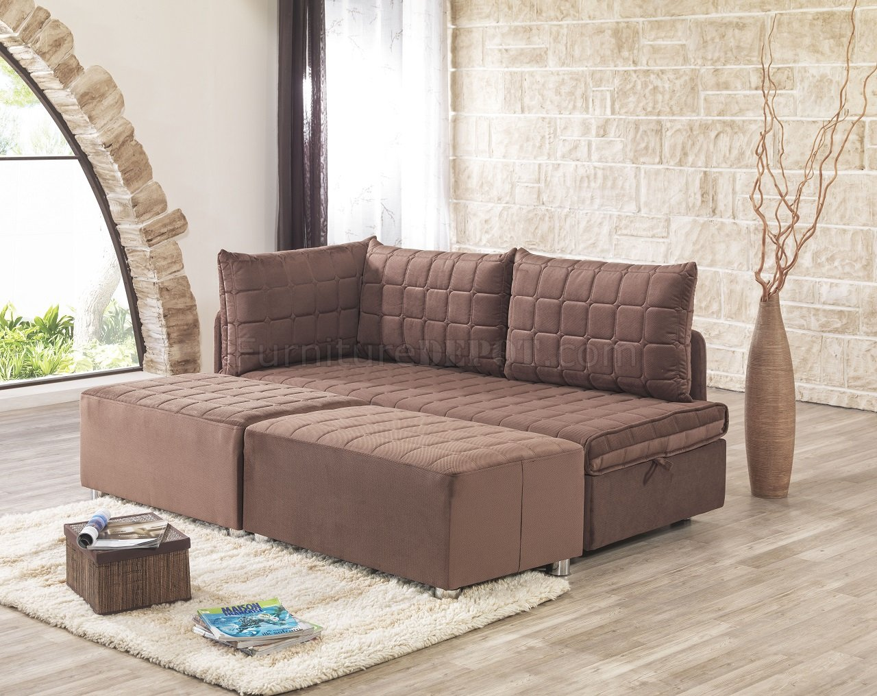 day night sleeper sofa reclining with drink holder and bed in brown fabric by casamode w options