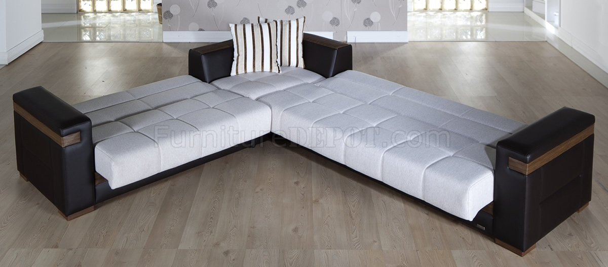 convertible sofa bed sectional broyhill cambridge sleeper cream fabric dark leatherette