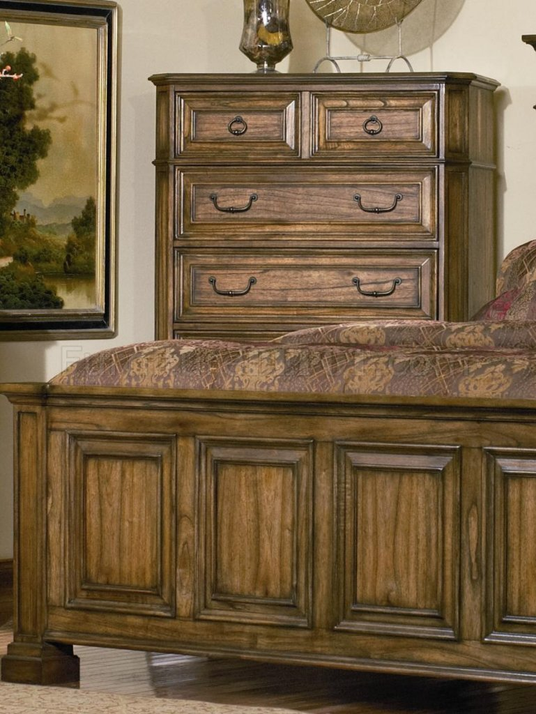 Warm Brown Oak Finish Traditional Panel Bed wOptional