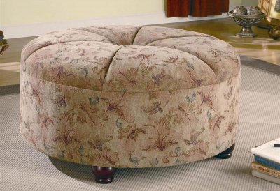 Floral Fabric Contemporary Round Ottoman wCenter Tuft
