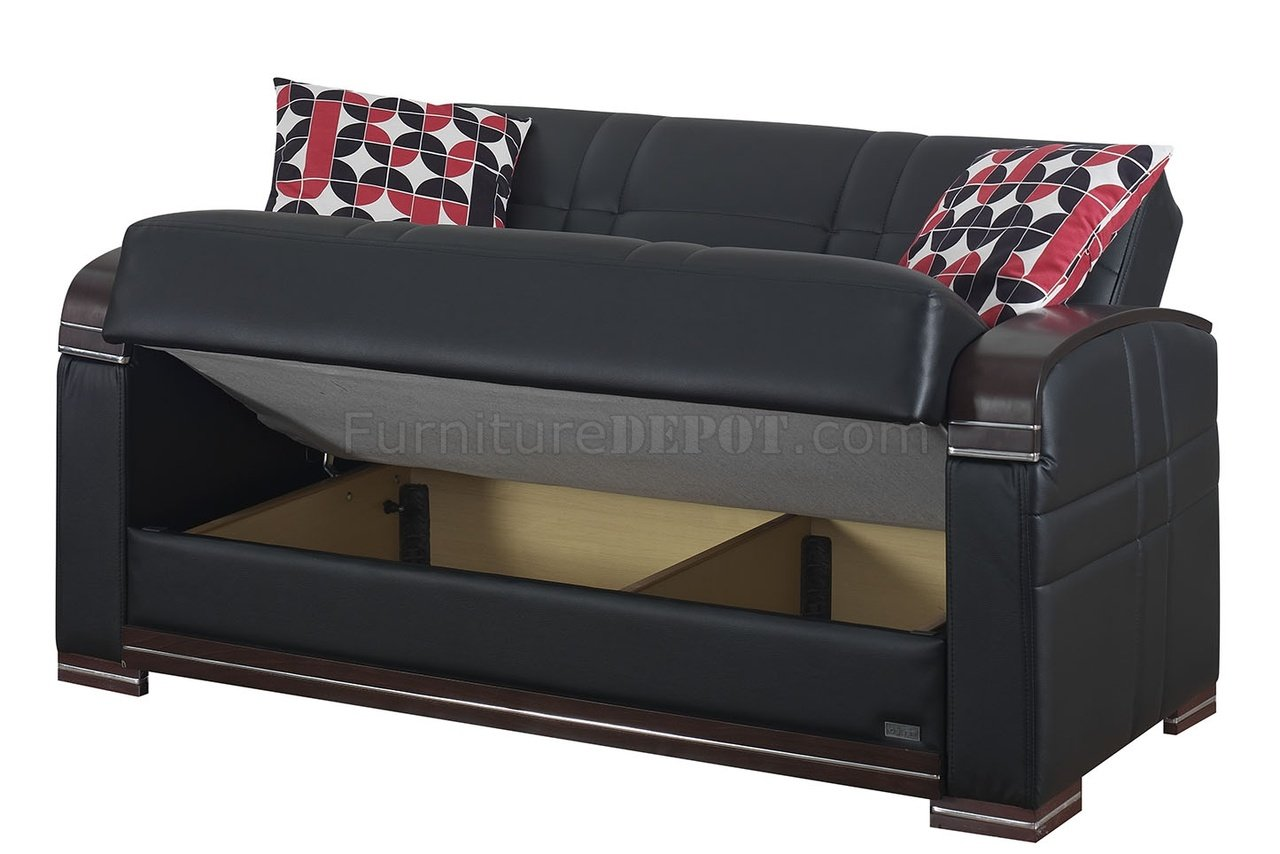 leatherette sofa durability create your own sectional online bronx bed in black w optional loveseat