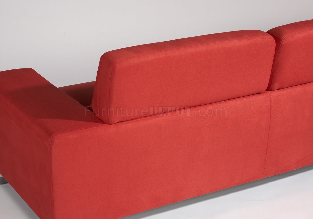 red microfiber reclining sofa de canto com chaise retratil modern and loveseat set w metal legs