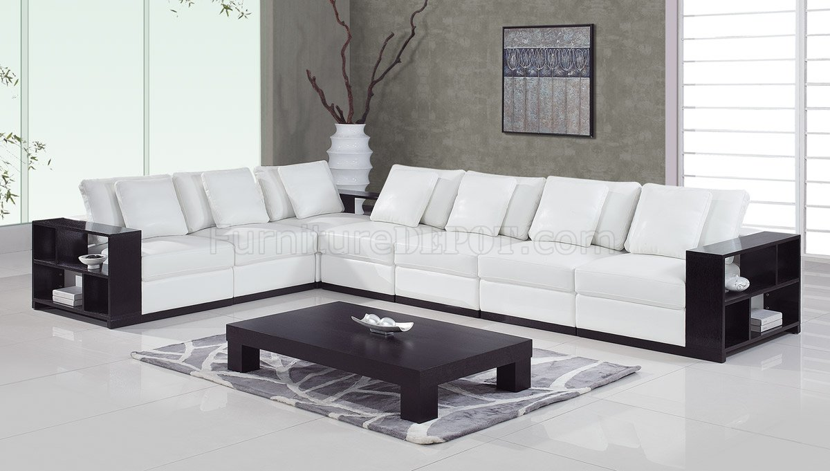 a130 sectional sofa in white leather by