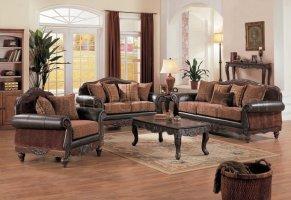 Dark Brown Full Leather & Chenille Formal Living Room w ...