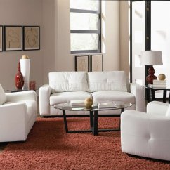White Leather Chairs For Living Room Chair Side End Table With Cup Holder Bonded Match Modern Sofa And Loveseat Set W
