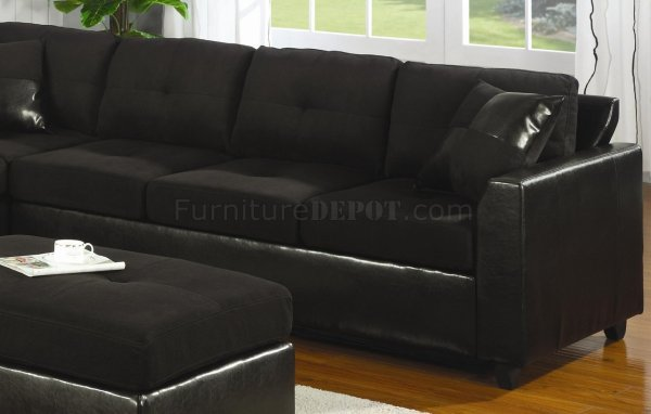 Microfiber & Faux Leather Contemporary Sectional Sofa 500735 Black