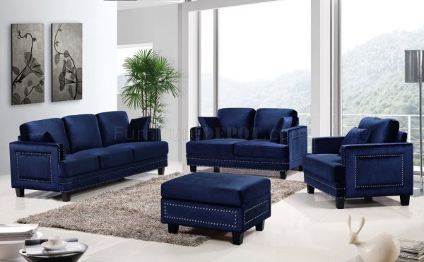 Ferrara Sofa 655 in Navy Velvet Fabric wOptional Items