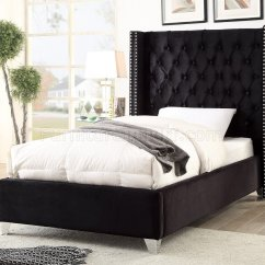 Modern Leather Living Room Set Exotic Aiden Bed In Black Velvet Fabric By Meridian W/options