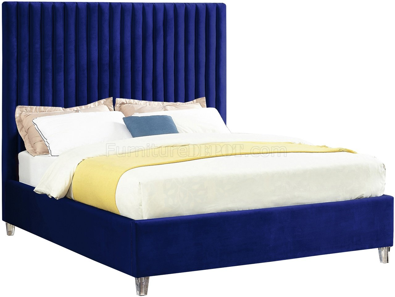 Candace Upholstered Bed in Navy Velvet Fabric by Meridian