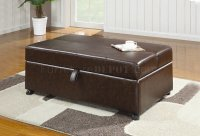 Brown Vinyl Modern Bench Ottoman w/Fold Out Sleeper