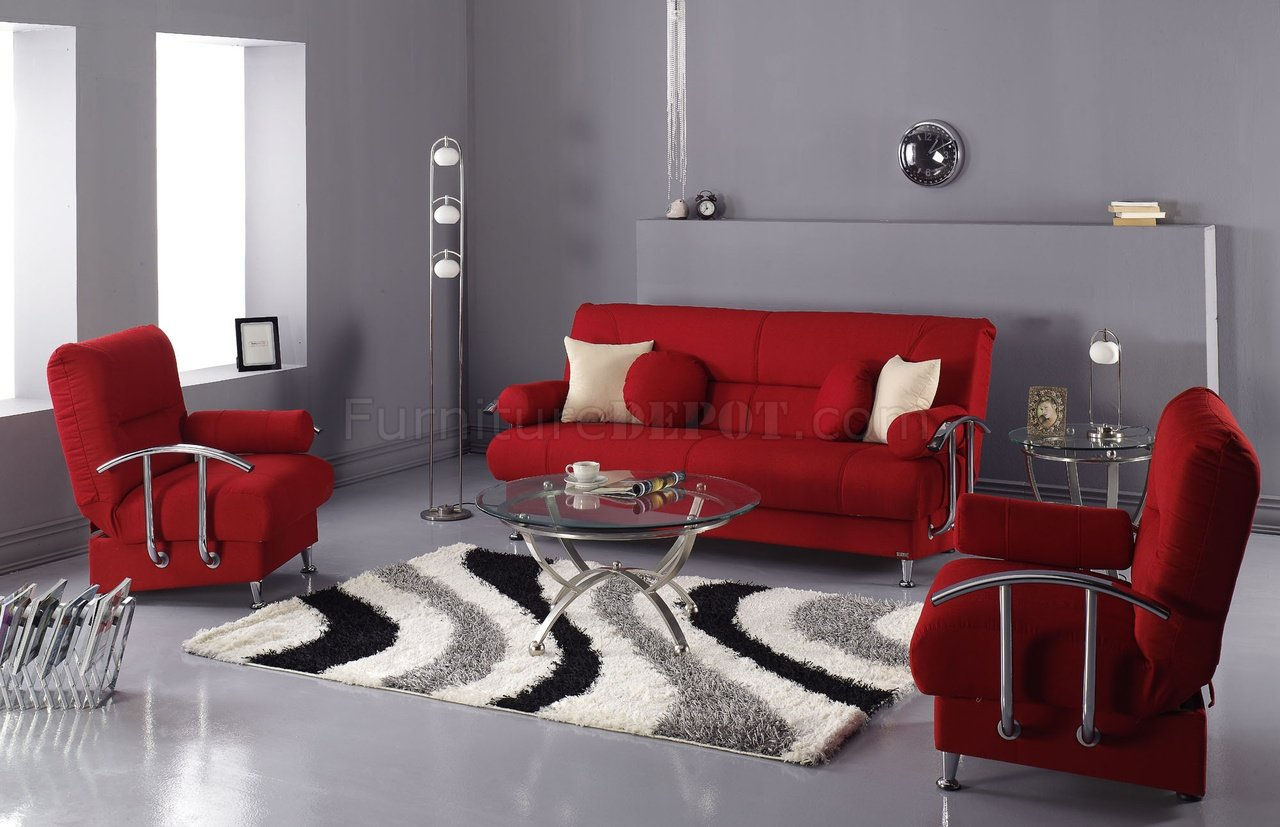 Red Microfiber Modern Living Room Sofa Bed wStorage