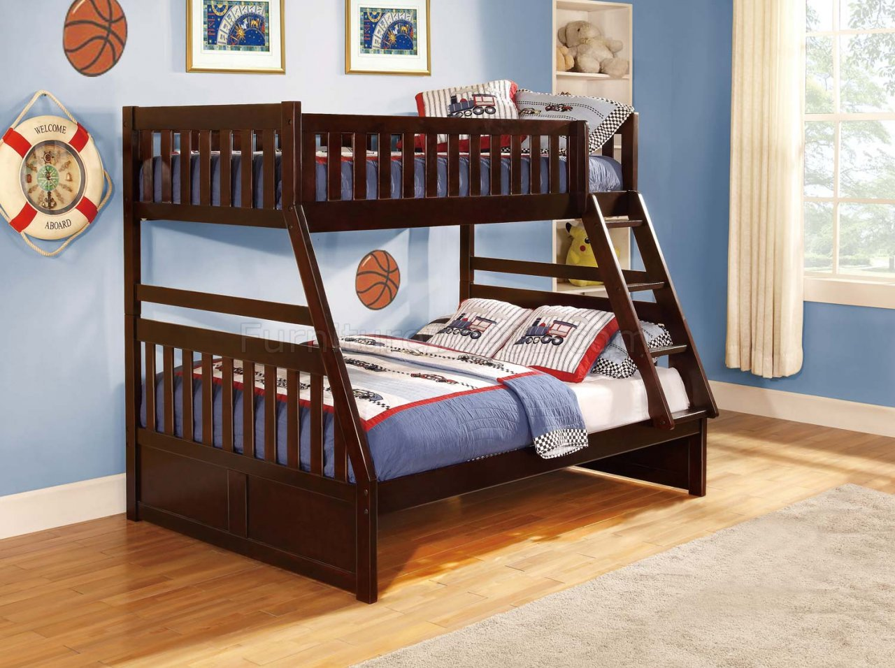 Rowe TwinFull Bunk Bed B2013 in Dark Cherry by Homelegance