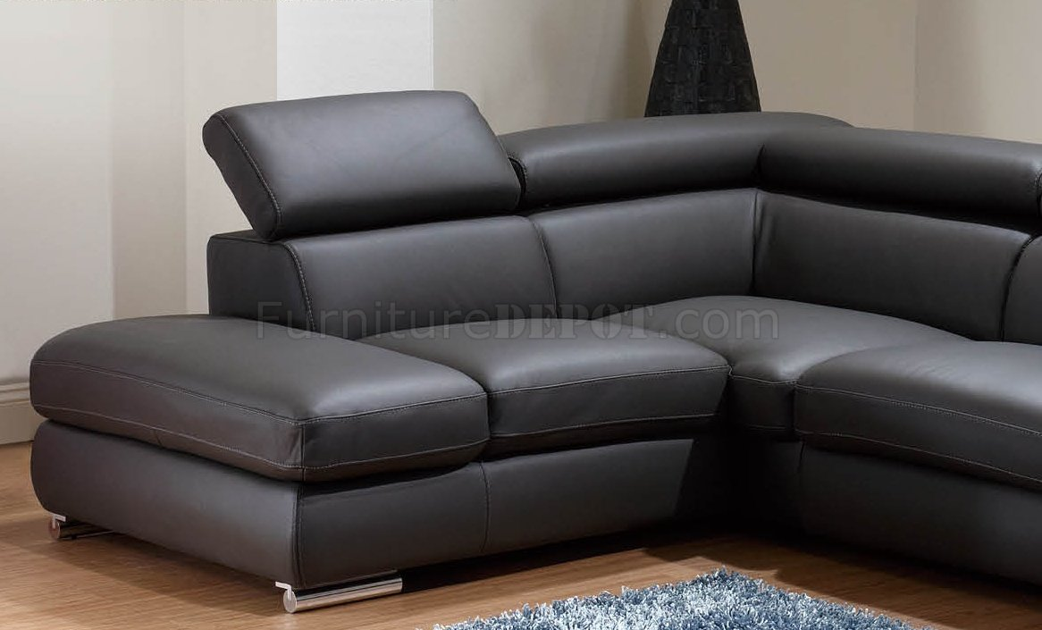 genuine leather sectional sofa with chaise city furniture bed dark grey modern w/adjustable headrests