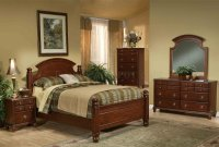 Warm Brown Finish Traditional Bedroom Set w/Arched Headboard