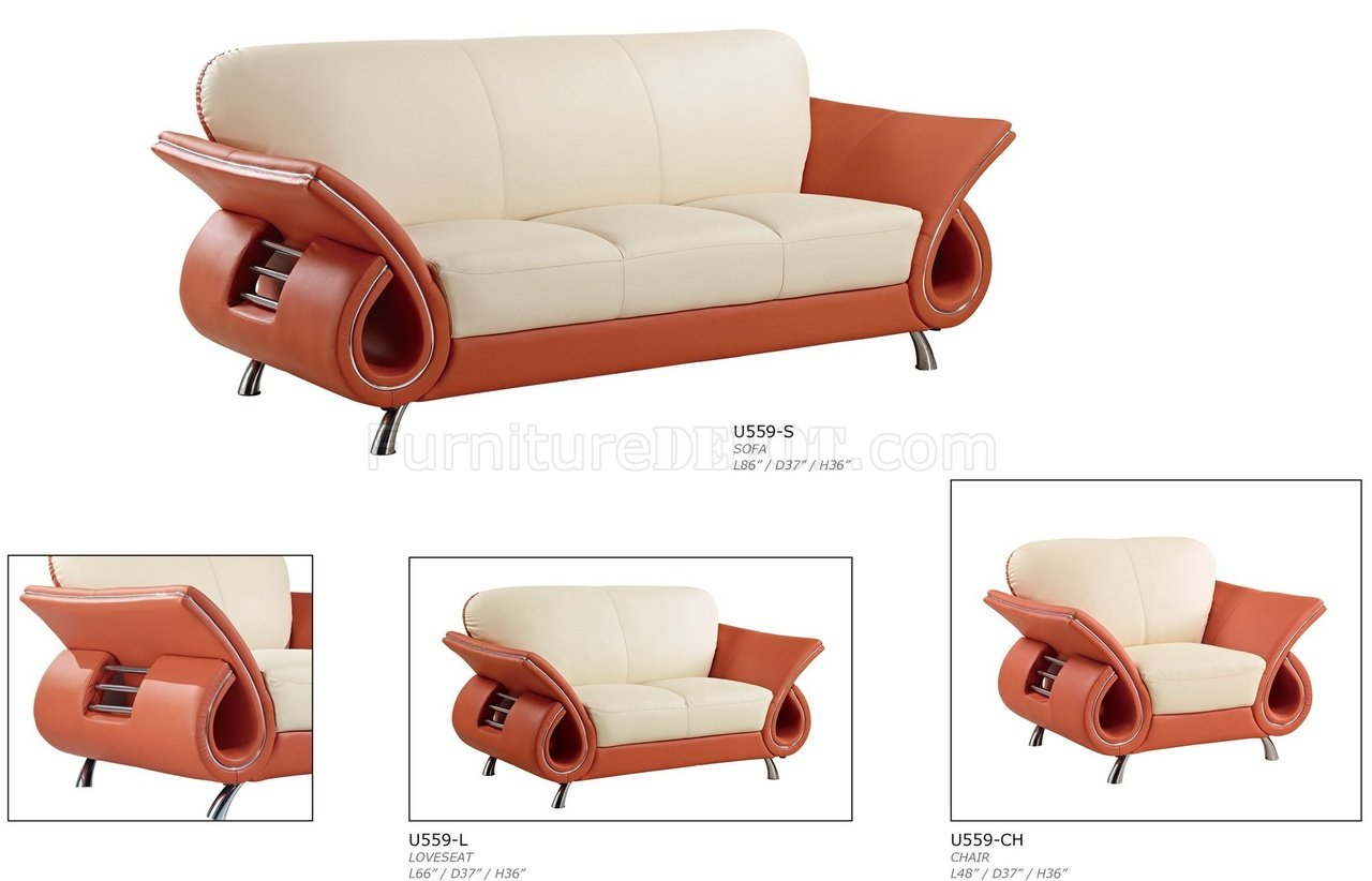 lucas beige orange leather sofa set loft reclining sectional from arketipo furniture u559 living room in by global