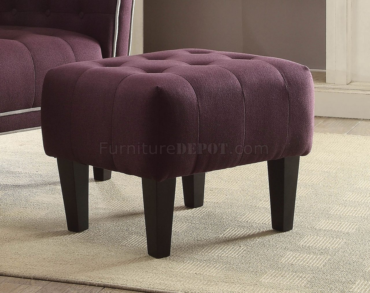 purple tufted sofa set best bed brands uk ophelia of accent chair & ottoman 59630 in by acme