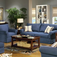 Denim Living Room Furniture Blue Accents For Fabric Modern Sofa Loveseat Set W Options