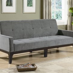 Microfiber Sofa Bed Modern Leather Sofas Dallas Grey Fabric Convertible W Wood Base