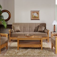 Wood Frame Living Room Furniture White Rug Beige Microfiber W Wooden Storage Sleeper Sofa