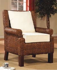 Contemporary Elegant Accent Chair w/Banana Leaf Accents