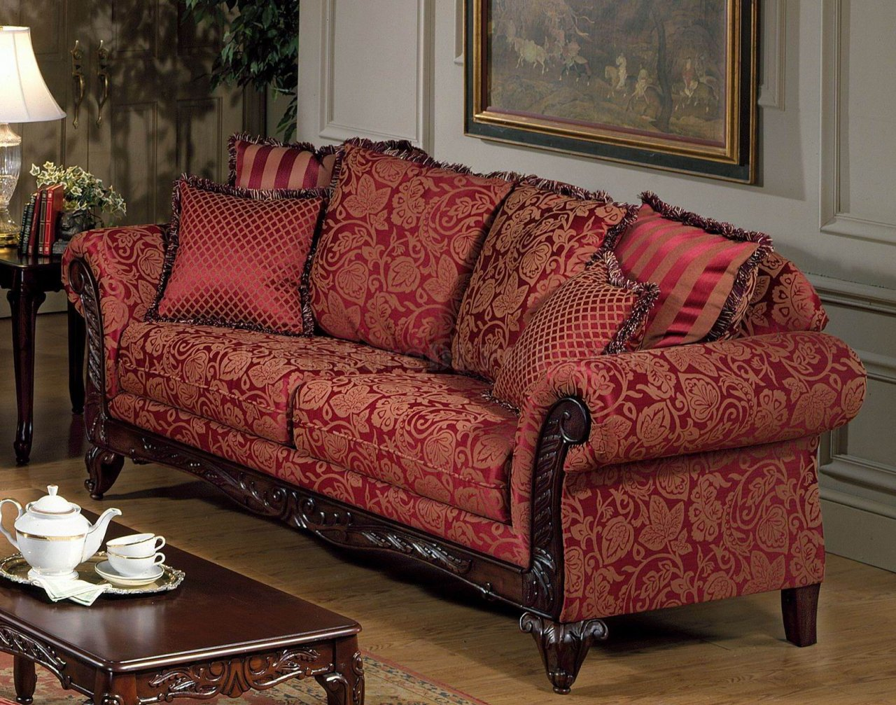 fabric sofa sets with wood trim what colour cushions go tan leather traditional sofas accents thesofa