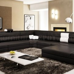 Black Sectional Living Room Ideas Images Of Rooms With Interior Designs Polaris Sofa In Bonded Leather By Vig Furniture