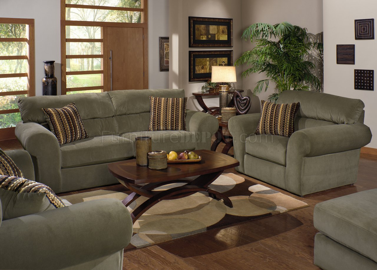 Sage Fabric Transitional Sofa  Loveseat Set wOptions