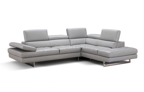 Light Grey Leather Sectional Sofa