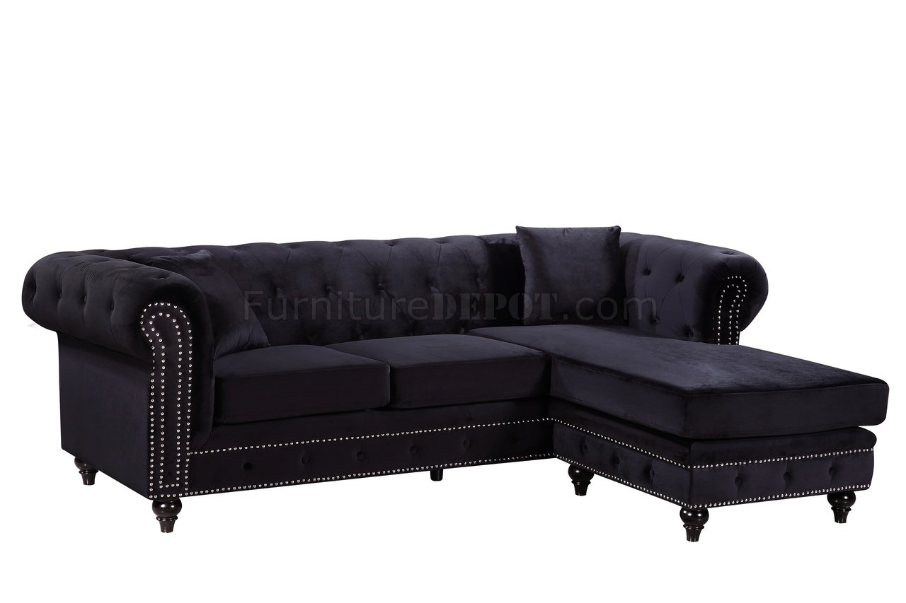 sabrina sofa slipcover for sectional with chaise 667 in black velvet fabric by meridian