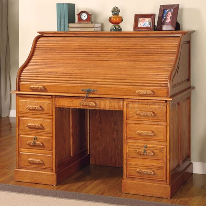 Deluxe Oak Finish Roll Top Stylish Computer Desk