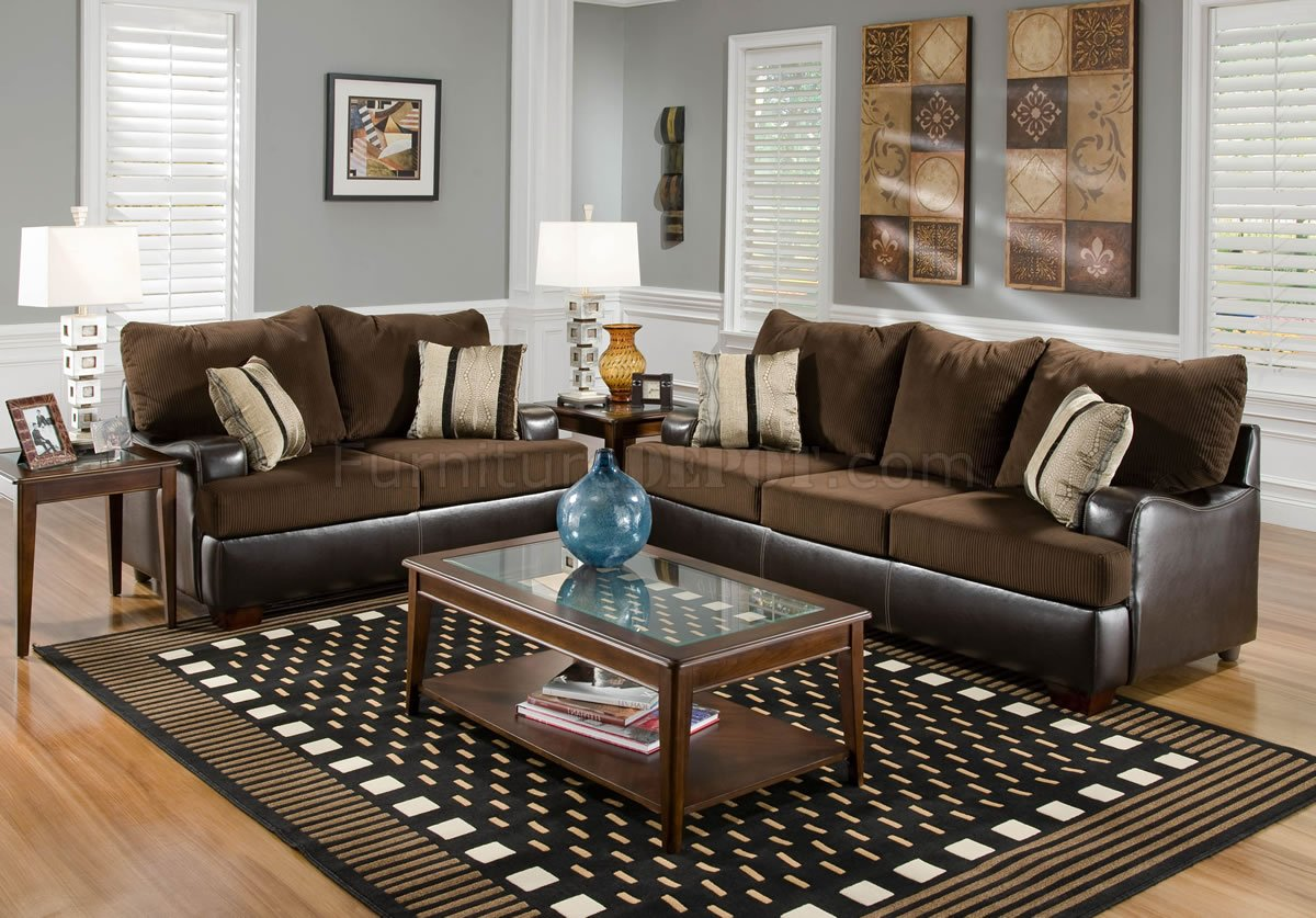 brown leather and fabric sectional sofa chesterfield cheap uk loveseat set w dark bonded base