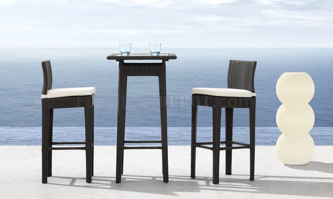 formal dining room chair seat covers travel baby high black weave modern 3pc outdoor bar set w/clear glass top table