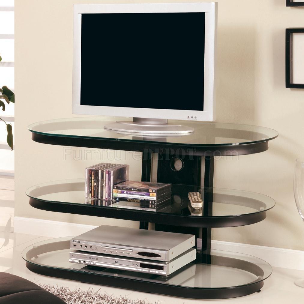 Black Metal Frame Modern TV Stand wThree Glass Shelves