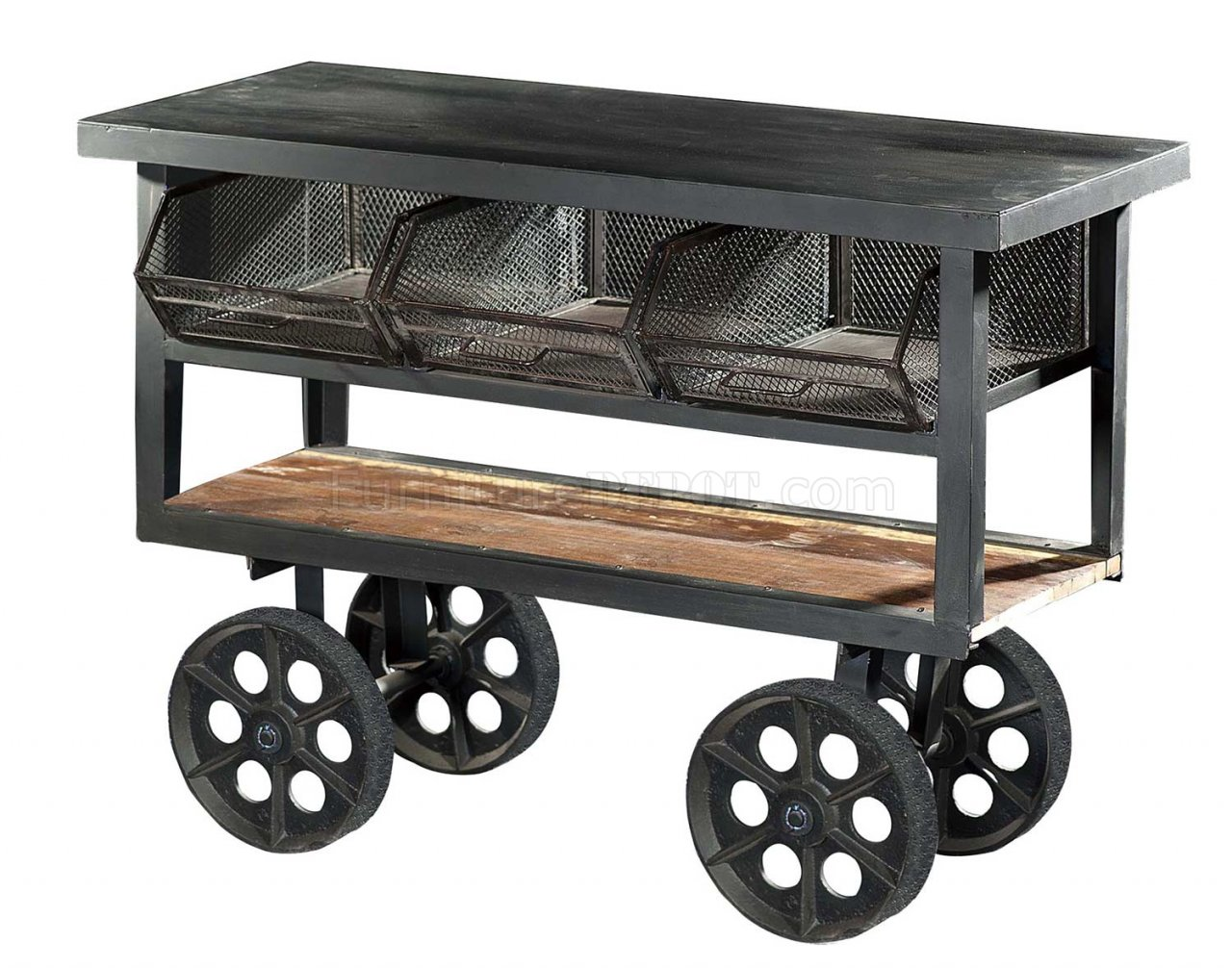 kitchen carts on wheels sconces amara 6411 iron cart with by homelegance
