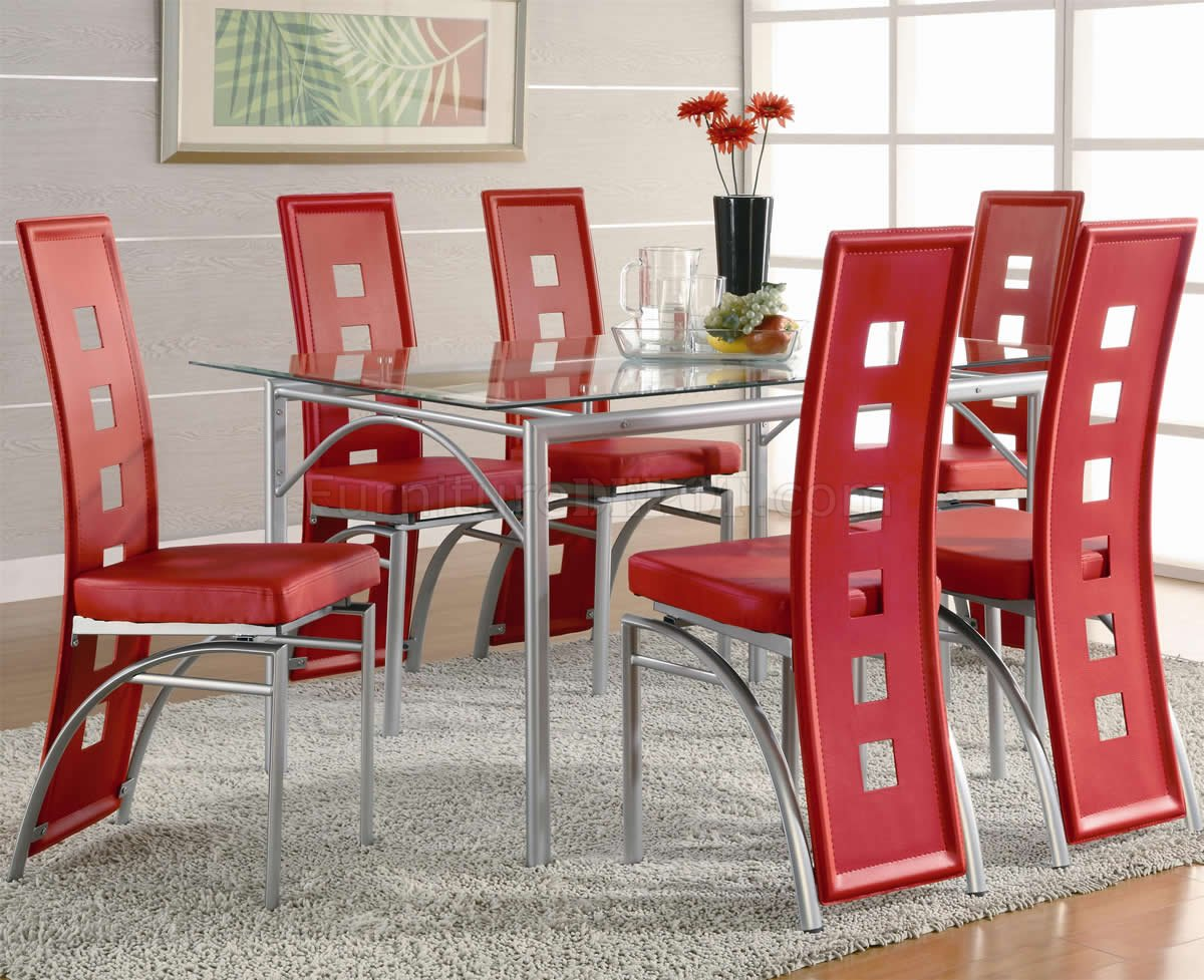 Glass Table Top  Metal Base Modern 7Pc Dining Set wRed