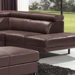 Brown Leather Sofa On Legs Solid Oak Table Top Grain Full Modern Sectional W Metal