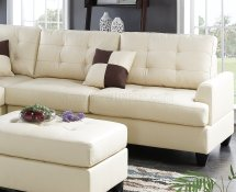 F6856 Sectional Sofa 3pc In Beige Faux Leather Boss