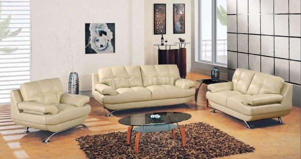 elegant leather living room furniture Beige Leather Modern Elegant Living Room with Tufted Seats