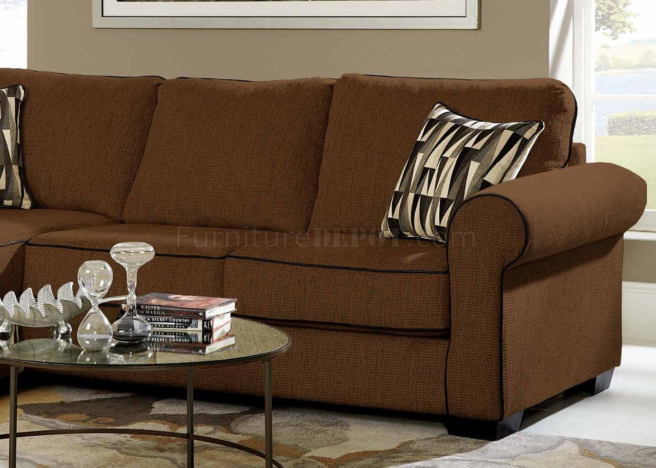 chenille sectional sofas with chaise stylish futon sofa beds 3500 in chocolate w/accent pillows