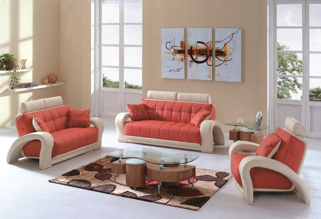 lucas beige orange leather sofa set modular sofas northern ireland 7032 in and bonded w options