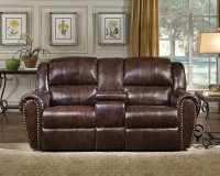 Cognac Brown Bonded Leather Living Room Sofa w/Recliner Seats