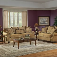 Living Room With Loveseat And Chairs Best Wall Colors 2017 Beige Fabric Classic Sofa Set