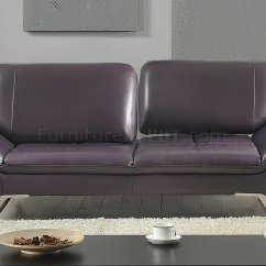 Aubergine Leather Sofa Gray Convertible Roxi In Eggplant Full By At Home Usa W Options