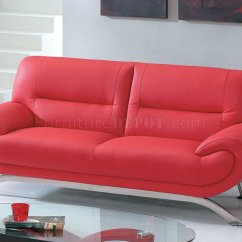 Sofas With Legs L Shaped Full Size Sofa Sleeper Contemporary Red Leather 7580 Options And Metal