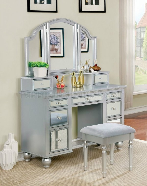 Tracy Vanity Table Withstool Cm-dk6162 In Silver & Mirror